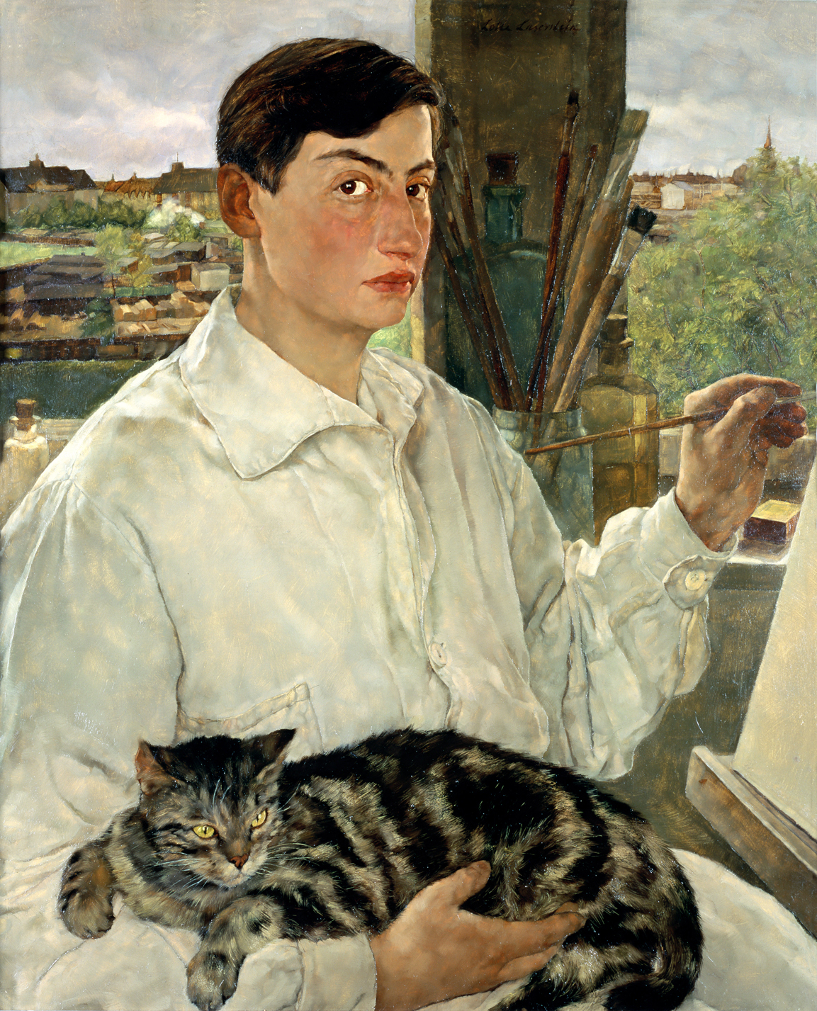 Lotte Laserstein, Selbstporträt mit Katze, 1928, New Walk Museum and Art Gallery, Leicester, Reproduced courtesy of Leicester Arts and Museums Service / Bridgeman Images © VG Bild-Kunst, Bonn 2019